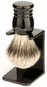 Edwin Jagger Super Badger Hair Handmade Imitation Ebony Large Shaving Brush with Drip Stand