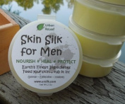 SKIN SILK for MEN! Healing 100% NATURAL Essential Balm 60ml Cream Lotion HEALS Dry, Irritated Skin and cracked hands! Soothes after shaving! Vegan. Vitamins rejuvenate. Feed your skin... rub it in! Organic Shea Butter, Coconut & Olive Oil, Soywax, Tea- ..
