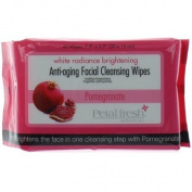 Petal Fresh White Radiance Brightening Anti-Ageing Facial Cleansing Wipes, Pomegrante, 450ml