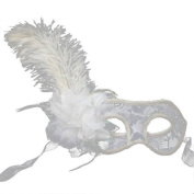 Oparty Female Venetian Translucent Masks With White Ostrich Feathers By U-beauty
