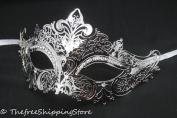 Luxury Elegant Silver Metal Laser Cut Venetian Masquerade Mask with Rhinestones