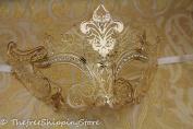 Luxury Mysteries Gold Metal Laser Cut Venetian Masquerade Mask w/ Rhinestones