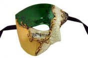 Venetian Mask Exclusive w/ Green Musical Half Face Mask Men's Masquerade Mask