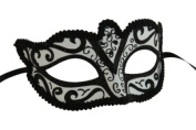 Classic Vintage Swan Venetian Style Laser Cut Masquerade Mask for Mardi Gras or Halloween - Black Lining Design
