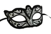 Classic Vintage Swan Venetian Style Laser Cut Masquerade Mask for Mardi Gras or Halloween - Black Lining Design