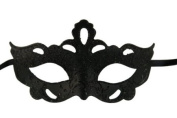Classic Vintage Swan Venetian Style Laser Cut Masquerade Mask for Mardi Gras or Halloween - Decorated with Glitter - Black