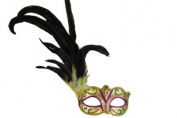 Classic Vintage Swan Venetian Style Laser Cut Masquerade Mask for Mardi Gras or Halloween - Purple, Gold, and Green with Oustanding Feathers