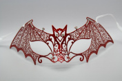 Special Edition Bat Woman Red Laser Cut Venetian Mardi Gras Masquerade Mask with Diamonds