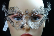 Beautiful Silver Metal laser Cut Venetian Masquerade Mask with Diamonds
