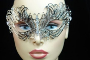 Elegant Silver Metal laser Cut Venetian Masquerade Mask with Diamonds