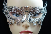 Elegant Silver Swan Metal laser Cut Venetian Masquerade Mask with Diamonds