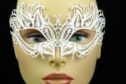 Elegant White Metal laser Cut Venetian Masquerade Mask with Diamonds