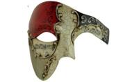 Silver Lining Musical Red Venetian Half Masquerade Mask Phantom Vintage Design