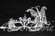 Butterfly Princess White Venetian Mardi Gras Masquerade Mask with Diamonds
