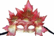Classic Venetian Autumn Seasonal Leaf Design Laser Cut Masquerade Mask for Mardi Gras Events or Halloween - w/ Pink Decorated Leaves