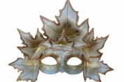 Classic Venetian Autumn Seasonal Leaf Design Laser Cut Masquerade Mask for Mardi Gras Events or Halloween - w/ Silvery Decorated Leaves