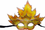 Classic Venetian Autumn Seasonal Leaf Design Laser Cut Masquerade Mask for Mardi Gras Events or Halloween - w/ Yellow Decorated Leaves