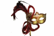 Classic Venetian Elegant Swan w/ Grand Feathers Design Laser Cut Masquerade Ballroom Mask for Mardi Gras or Halloween - Gold w/ Red Flowers
