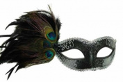Classic Venetian Elegant Swan w/ Peacock Feathers Design Laser Cut Masquerade Mask for Mardi Gras Events or Halloween - Black
