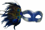 Classic Venetian Elegant Swan w/ Peacock Feathers Design Laser Cut Masquerade Mask for Mardi Gras Events or Halloween - Blue