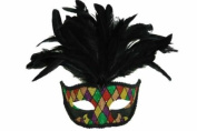 Classic Venetian Elegant Swan w/ Peacock Feathers Design Laser Cut Masquerade Mask for Mardi Gras Events or Halloween - Chequered Pattern