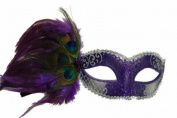 Classic Venetian Elegant Swan w/ Peacock Feathers Design Laser Cut Masquerade Mask for Mardi Gras Events or Halloween - Purple