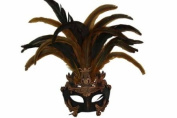 Classic Vintage Ancient Temple Priestess Ruin Mask w/ Feathers Design Laser Cut Masquerade Mask for Mardi Gras Events or Halloween - Bronze