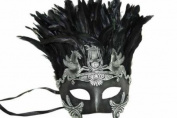 Classic Vintage Ancient Temple Ruin Mask w/ Feathers Design Laser Cut Masquerade Mask for Mardi Gras Events or Halloween - Silver