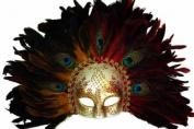 Classic Vintage Ancient Temple Shaman Ruin Mask w/ Feathers Design Laser Cut Masquerade Mask for Mardi Gras Events or Halloween - Gold w/ Peacock Feathers