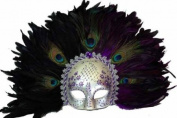 Classic Vintage Ancient Temple Shaman Ruin Mask w/ Feathers Design Laser Cut Masquerade Mask for Mardi Gras Events or Halloween - Silver and Purple Lining
