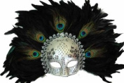 Classic Vintage Ancient Temple Shaman Ruin Mask w/ Feathers Design Laser Cut Masquerade Mask for Mardi Gras Events or Halloween - Silver w/ Peacock Feathers