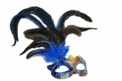 Classic Vintage Venetian Grand Swan Mask Design Laser Cut Masquerade Mask for Mardi Gras Events or Halloween - Blue w/ Brilliant Feathers