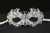 Elegant White laser Cut Venetian Mardi Gras Masquerade Mask with Diamonds