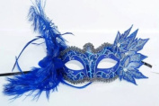 Feathers and Leaves Collection Masquerade Mask - Vibrant Blue