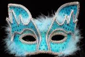 FOX Design Venetian Inspired Laser Cut Masquerade Mask, Elegantly Crafted- Vibrant Sky Blue