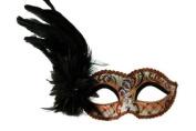Intricate Decorated Pattern Venetian Design Laser Cut Masquerade Mask, Attached w/ Dark Black Feathers