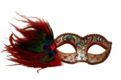 Intricately Decorated Pattern Swan Venetian Design Laser Cut Masquerade Mask, Attached w/ Vibrant Red Coloured Peacock Feathers