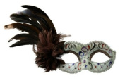 Intricately Decorated Pattern Venetian Design Laser Cut Masquerade Mask, Attached w/ Vibrant Brown Coloured Feathers