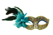 Intricately Decorated Pattern Venetian Design Laser Cut Masquerade Mask, Attached w/ Vibrant Sky Blue and Green Coloured Feathers