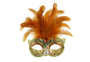 Intricately Detailed Pattern Swan Venetian Design Laser Cut Masquerade Mask, Attached w/ Vibrant Orange Coloured Feathers