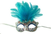 Intricately Detailed Pattern Swan Venetian Design Laser Cut Masquerade Mask, Attached w/ Vibrant Sky Blue Coloured Feathers