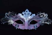 LASER CUT MARDI GRAS Pink/Silver Masquerade Mask