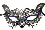 Laser Cut Venetian Halloween Masquerade Mask Costume Cat/Feline Inspire Designs - Black w/ Blue Rhinestones