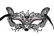 Laser Cut Venetian Halloween Masquerade Mask Costume Cat/Feline Inspire Designs - Black w/ Pink Rhinestones