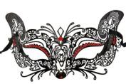 Laser Cut Venetian Halloween Masquerade Mask Costume Cat/Feline Inspire Designs - Black w/ Red Rhinestones