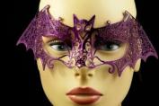 Laser Cut Venetian Halloween Masquerade Mask Costume Extravagant and Elegant Bat Inspire Design - Purple w/ Rhinestones