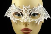 Laser Cut Venetian Halloween Masquerade Mask Costume Extravagant and Elegant Bat Inspire Design - White w/ Rhinestones