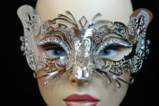 Laser Cut Venetian Halloween Masquerade Mask Costume Extravagant and Elegant Cat Detailed Inspire Design - Silver w/ Rhinestones