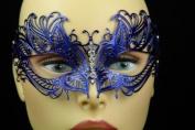 Laser Cut Venetian Halloween Masquerade Mask Costume Extravagant and Elegant Detailed Inspire Design - Blue w/ Rhinestones