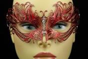 Laser Cut Venetian Halloween Masquerade Mask Costume Extravagant and Elegant Detailed Inspire Design - Red w/ Rhinestones